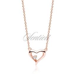 Srebrny pozłacany różowym złotem naszyjnik pr.925 serce z cyrkonią