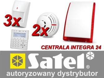 Zestaw alarmowy satel integra 24, klawiatura sensoryczna, 3 czujniki ruchu, 2 czujniki dymu, sygnalizator zewnętrzny sp-4003 - możliwość montażu - zadzwoń: 34 333 57 04 - 37 sklepów w całej polsce