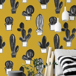 Tapeta na ścianę - mustard cactus , rodzaj - próbka tapety 50x50cm