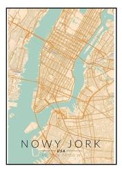 Nowy jork mapa kolorowa - plakat wymiar do wyboru: 40x60 cm