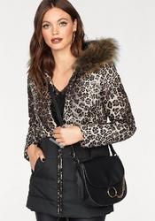 Puchowa kurtka zimowa w leopardzie cętki z futrem na kapturze melrose