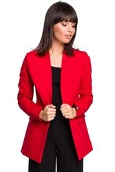 Czerwony dzianinowy dłuższy żakiet bez zapięcia