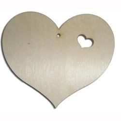 Drewniane serce z ozdobnym wycięciem 118x105x3 mm - s118
