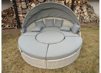 Łóżko ogrodowe z baldachimem korynt jasnoszary