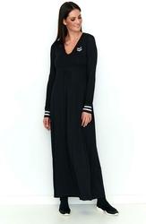 Czarna Sportowa Sukienka Maxi z Długim Rękawem
