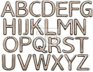 Naklejka litery metalowe
