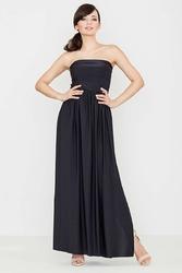 Czarna zmysłowa gorsetowa maxi sukienka