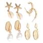 Kolczyki zestaw 4 pary muszle muszelki perły złote