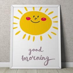 Good morning - plakat dla dzieci , wymiary - 70cm x 100cm, kolor ramki - czarny