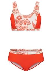 Bikini bustier 2 części, przyjazne dla środowiska bonprix koralowo-biały paisley