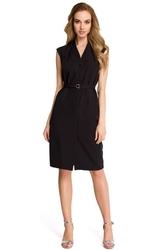 Czarna elegancka sukienka szmizjerka z paskiem