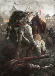 Bitwa o gród - plakat premium wymiar do wyboru: 42x59,4 cm