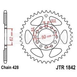 Zębatka tylna stalowa jt 1842-51, 51z, rozmiar 428 2301908 yamaha tw 125