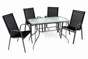 Zestaw mebli ogrodowych stół szklany i 4 czarne krzesła rama jasnoszara