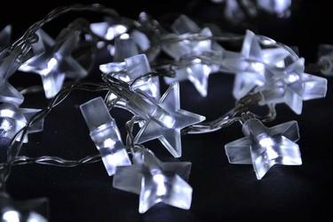 Lampki świąteczne gwiazdki 20 led zimny biały