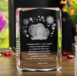 Pamiątka ślubu »serca 3d wśród kwiatów« z twoją dedykacją • grawer 3d