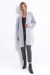 Długi niezapinany sweter damski - szary