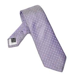 Elegancki fioletowy krawat van thorn w różowe kropki