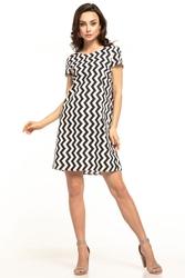 Bawełniana sukienka mini z krótkim rękawem czarny zygzak