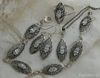 Avila - srebrny komplet z kryształem swarovskiego