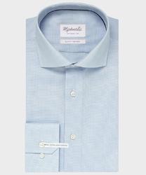 Extra długa niebieska koszula michaelis z kołnierzem włoskim 38