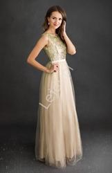 Złota sukienka z brokatową górą 2225