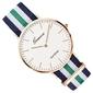 Zegarek damski męski geneva nylon zielony złoty