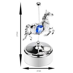 Pozytywka konik swarovski błękitny grawer - konik niebieski