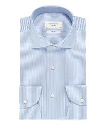 Niebieska koszula profuomo sky blue w biały prążek 39