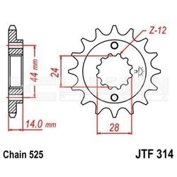 Zębatka przednia jt f314-16, 16z, rozmiar 525 2200003 honda xrv 750