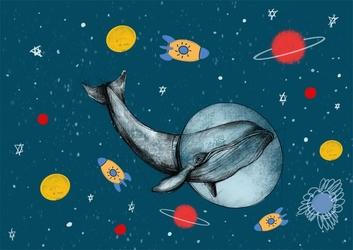 Wieloryb w kosmosie - plakat wymiar do wyboru: 70x50 cm