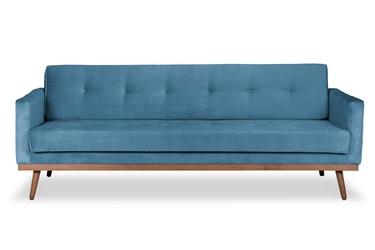 Sofa klematisar z funkcją spania welurowa 3-osobowa  deluxe - welur łatwozmywalny sky