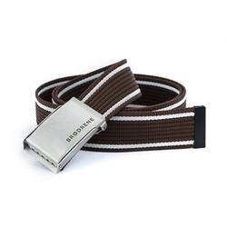 Brązowo biały parciany pasek do spodni brodrene p07 silver