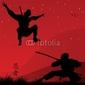 Obraz na płótnie canvas trzyczęściowy tryptyk ninja