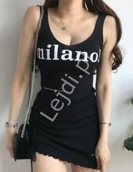 Czarna krótka bluzeczka z napisem milano