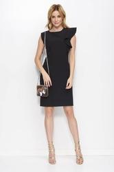 Czarna prosta sukienka z falbanką