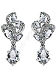 Kolczyki platynowane 18k białym złotem z cyrkonią z diamentowym szlifem | kolczyki wieczorowe, ślubne