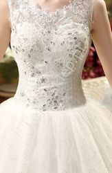 Tiulowa suknia ślubna z koronka i kryształkami| tiulowe ślubne, model 2, ostatnie sztuki