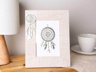 Ramka do zdjęcia 10 x 15 cm drewniana pionowa z łapaczem snów altom design dream