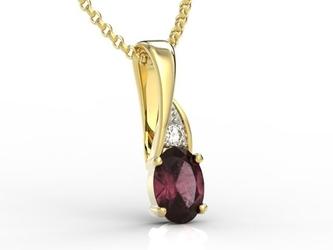 Wisiorek z żółtego złota z rubinem i diamentami apw-60z-r - żółte z rodowaniem  rubin