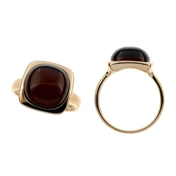pierścionek pozłacany,bursztyn bałtycki