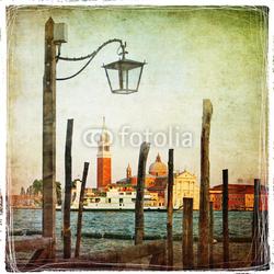 Obraz na płótnie canvas trzyczęściowy tryptyk Venetian pictures - artwork in retro style