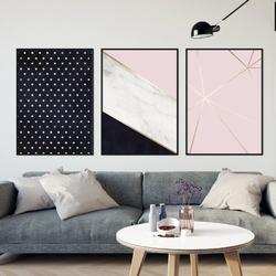 Zestaw trzech plakatów - design trio , wymiary - 30cm x 40cm 3 sztuki, kolor ramki - czarny