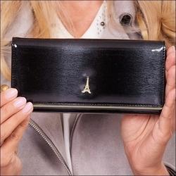 Skórzany lakierowany portfel damski czarny paris design 72401 - czarny