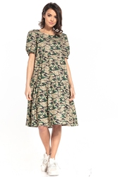 Sukienka midi z falbanką we wzory - ciemne moro