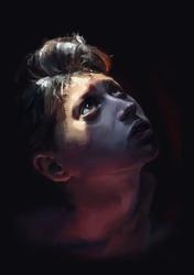 Portret chłopca - plakat premium wymiar do wyboru: 50x70 cm