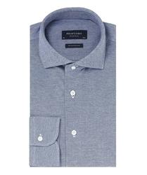 Elegancka niebieska koszula męska z dzianiny slim fit 44