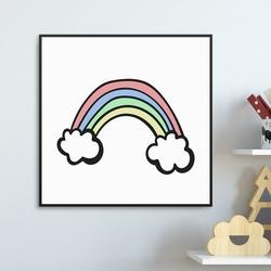 Little rainbow - plakat dla dzieci , wymiary - 30cm x 30cm, kolor ramki - biały