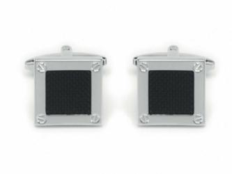 Eleganckie spinki do mankietów kwadratowe - śrubki i czarne wnętrze