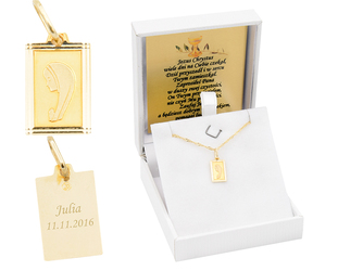 Złoty medalik z Matką Boską w ramce pr. 585 Chrzest Komunia Bierzmowanie GRAWER niebieska kokardka - Białe z niebieską kokardką